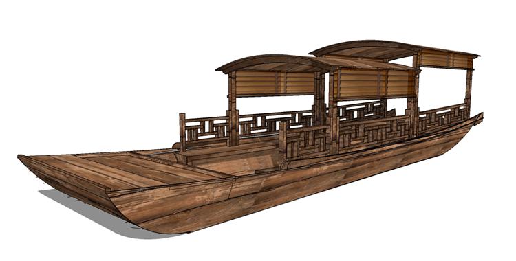 15木筏渔船SU模型13