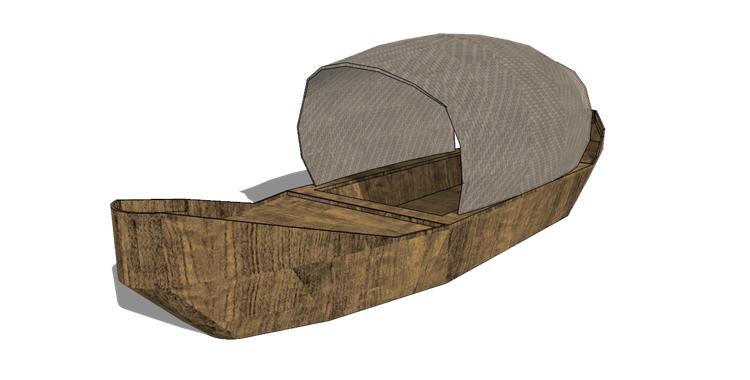 16木筏渔船SU模型14