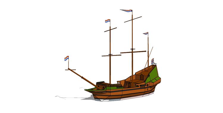 17木筏渔船SU模型15