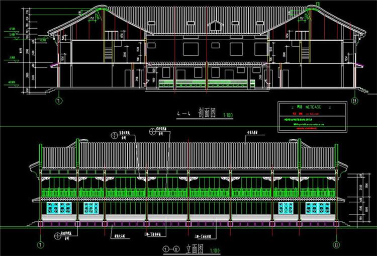 17马头墙CAD剖面图