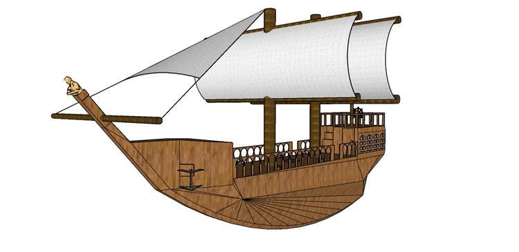 21木筏渔船SU模型19