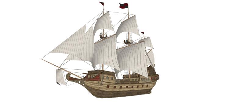 22木筏渔船SU模型20