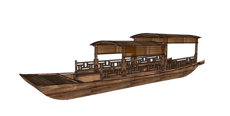 23木筏渔船SU模型21