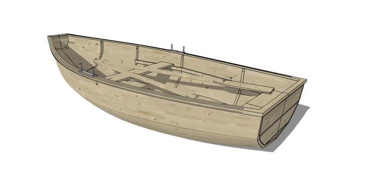 29木筏渔船SU模型27