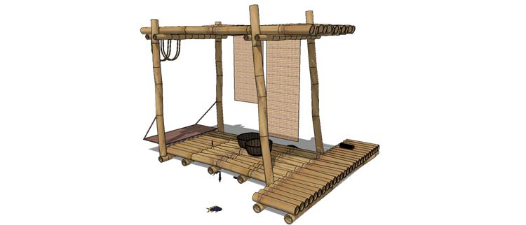 30木筏渔船SU模型28