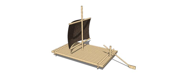32木筏渔船SU模型30