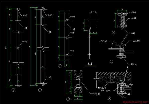 铁栅门节点详图 33个3
