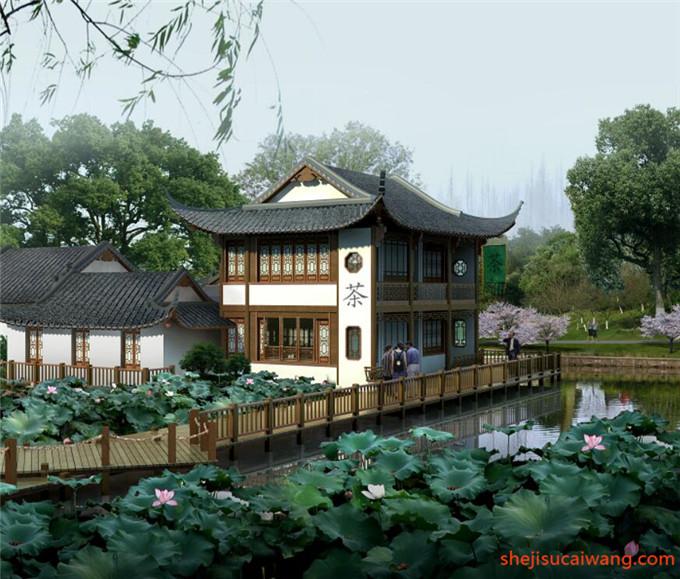中式古典滨水园林水景PSD2