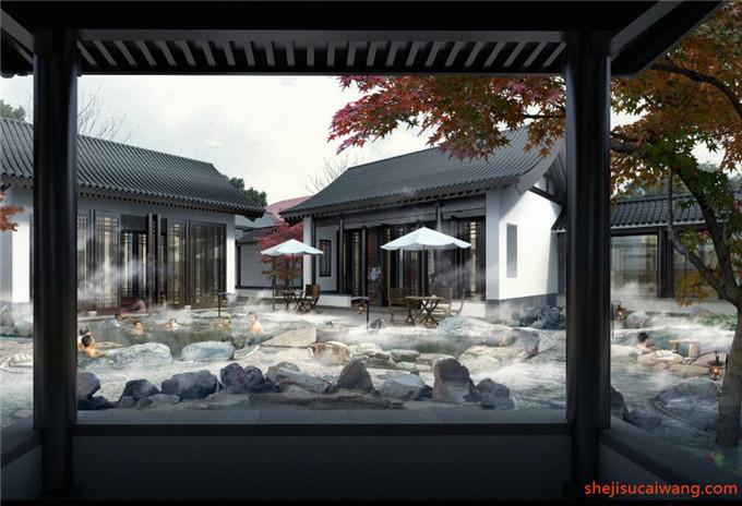 中式古典滨水园林水景PSD3