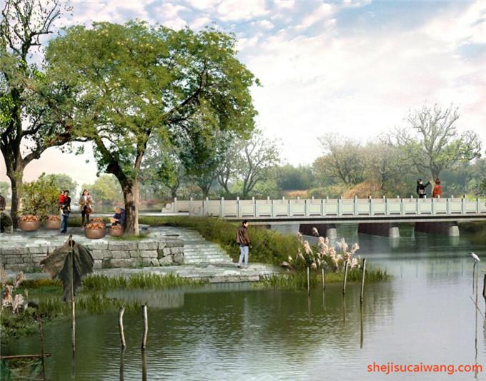 中式古典滨水园林水景PSD4