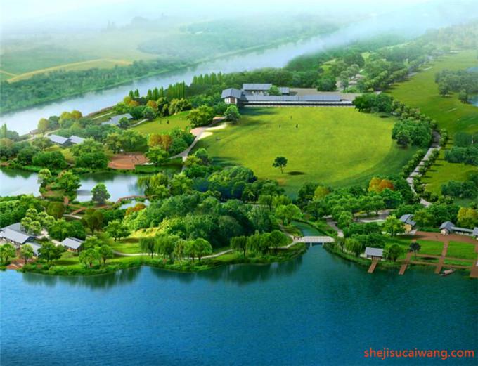 中式古典滨水园林水景PSD5
