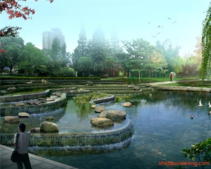 中式古典滨水园林水景PSD6
