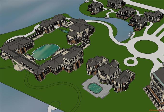 景区规划 SU模型4