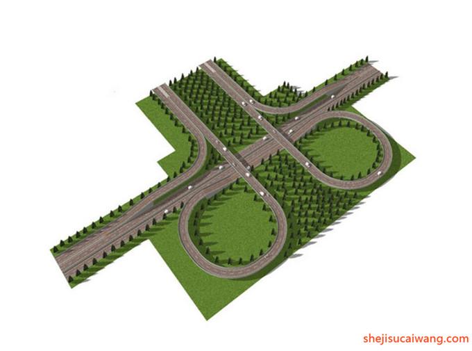 道路景观街道绿化SU模型10