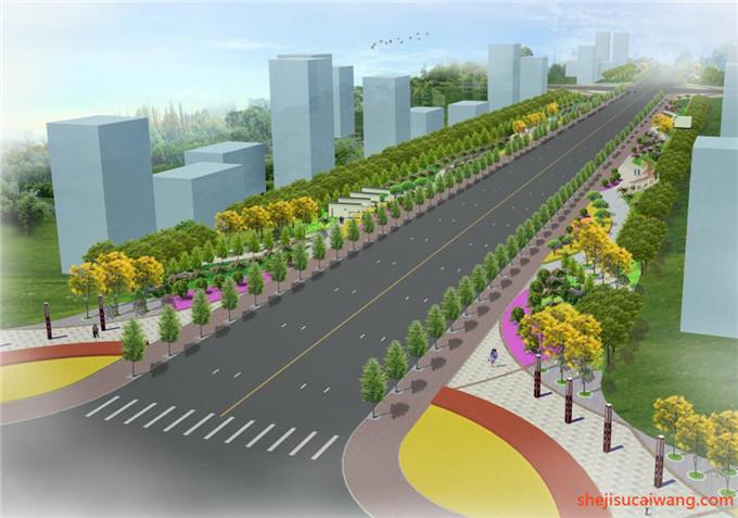 道路景观街道绿化SU模型2