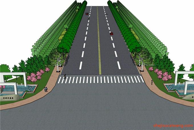 道路景观街道绿化SU模型3