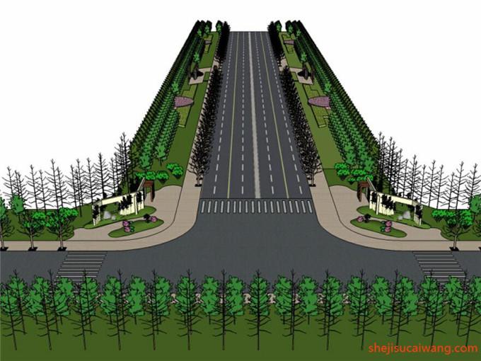 道路景观街道绿化SU模型4