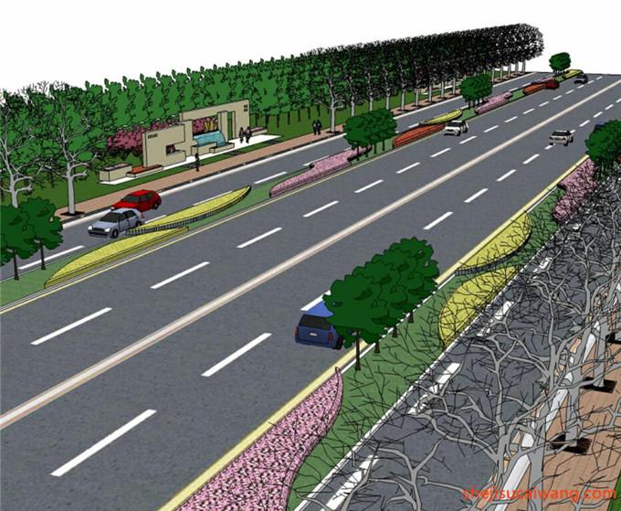 道路景观街道绿化SU模型5