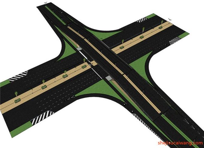 道路景观街道绿化SU模型6