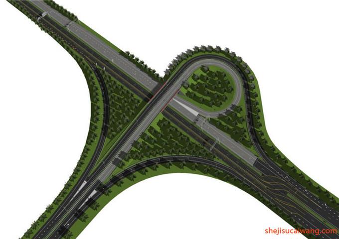 道路景观街道绿化SU模型8