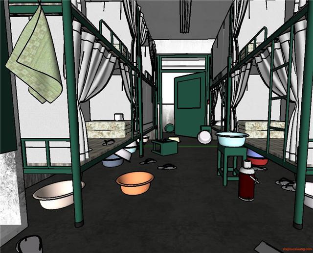 学校学生宿舍楼寝室SU模型2