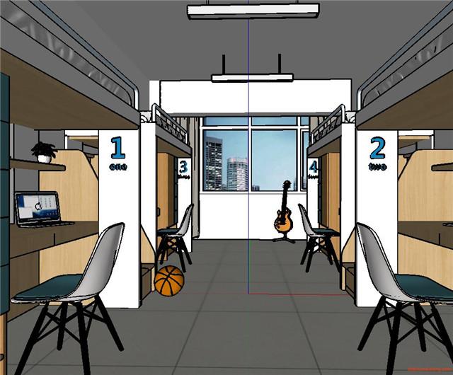 学校学生宿舍楼寝室SU模型3