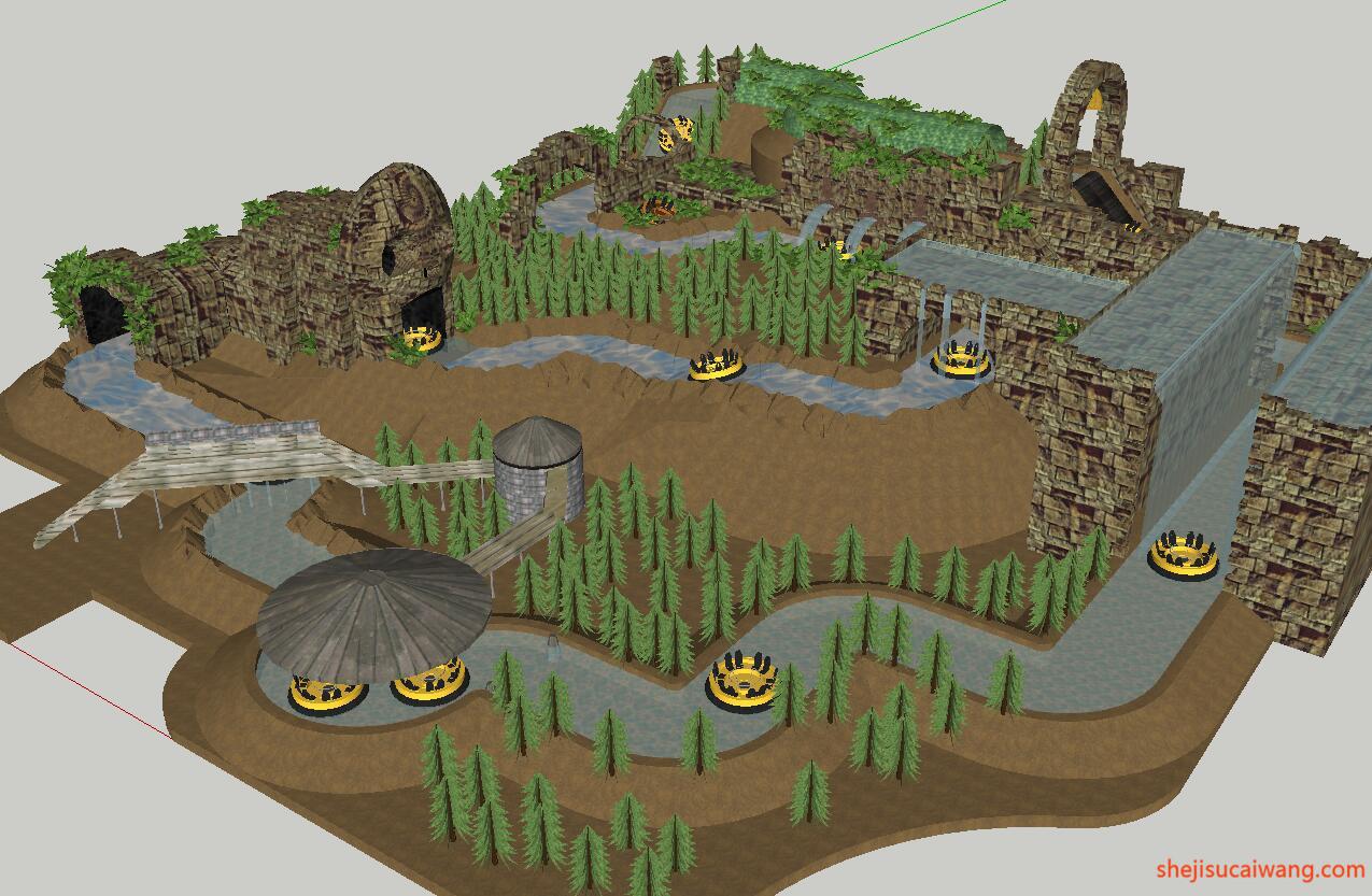 河流沙滩SU模型1