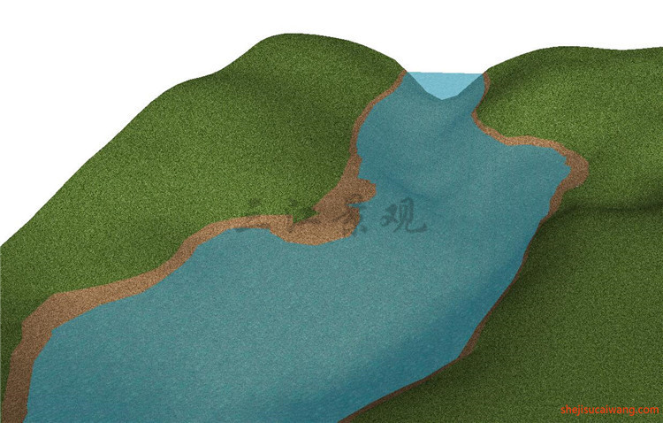 河流沙滩SU模型6