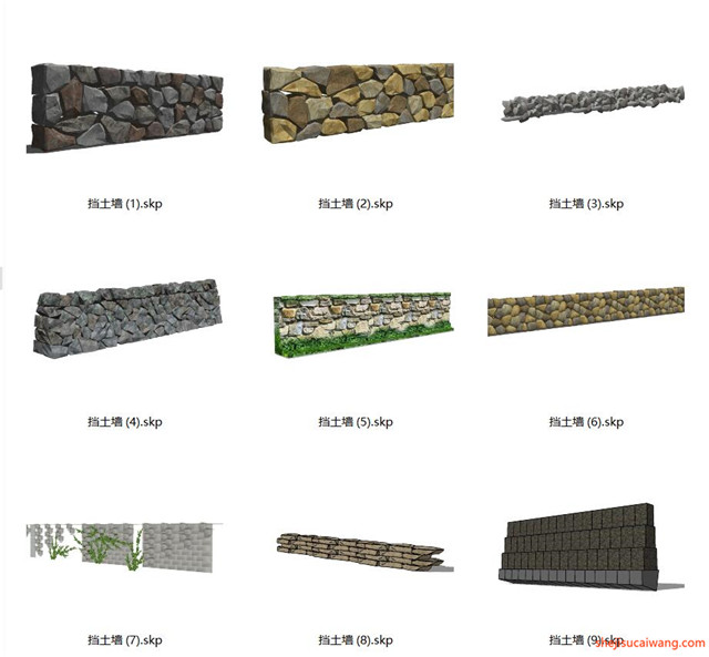 石笼挡土墙SU模型合集3