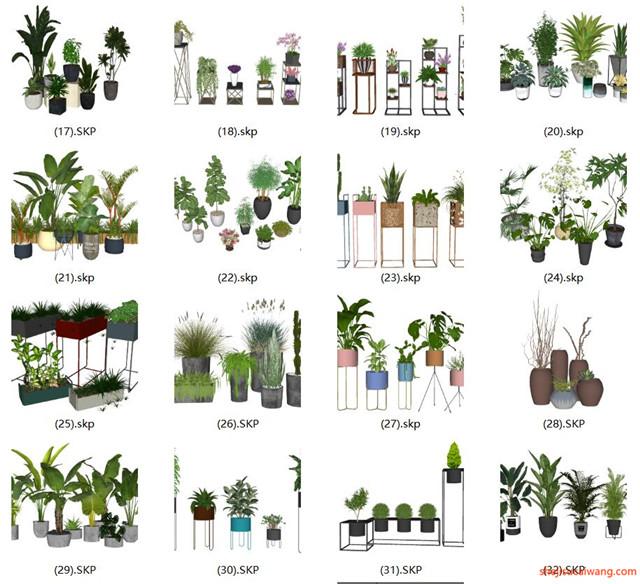 花钵植物盆栽花架SU模型合集2