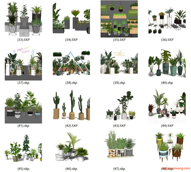 花钵植物盆栽花架SU模型合集3