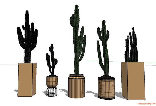 花钵植物盆栽花架SU模型4