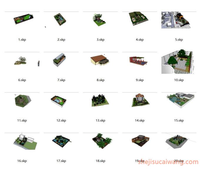 134套屋顶花园及庭院SU1