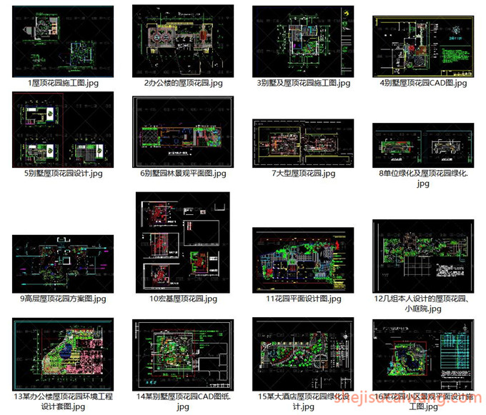136个别墅屋顶花园CAD平面图1